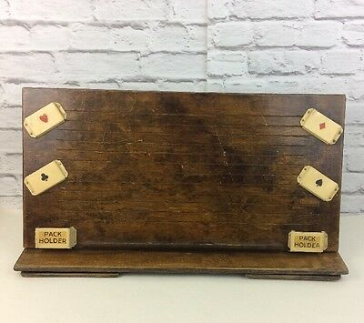 "Vintage Wooden ""Invalid Card Table"" With Metal Playing Card Holders."