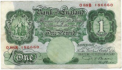 BANK OF ENGLAND £1 BANKNOTE . P.S.Beale . March 1950  SERIAL O 88 B