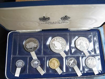 Seychelles 1976 Independence set of 8 coins: 1 cent - 10 rupees 2 silver coins