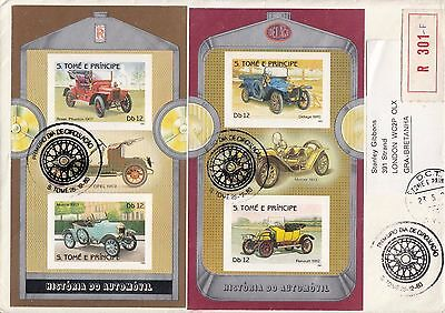 L 513 Sao Tome & Principe Dec 1983 cars minisheets reg First day Cover; Opel RR