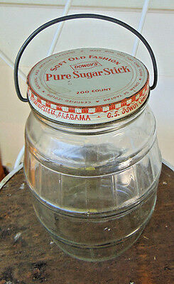 Vintage Candy Jar Soft Old Fashioned Dowdy's Pure Sugar Stick Dowdy Candy Co.