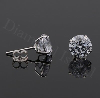 2.0 Ct Solid 14K White Gold Basket Round Brilliant Cut Solitaire Earrings Studs