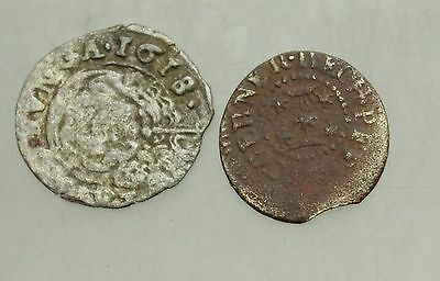 L6 Lot of 2x Ancient  Medieval  AE & Silver  coins 12-15mm