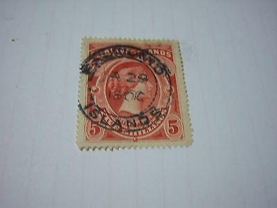 FALKLAND IS.- USED-SCOTT #21-5 shilling- brown red-Victoria--cv$275