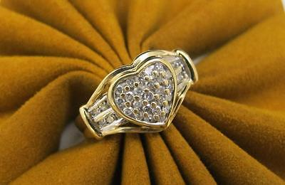 14k Yellow Gold .42 cttw DIAMOND RING Heart Shape Cluster Ring Size 6.5
