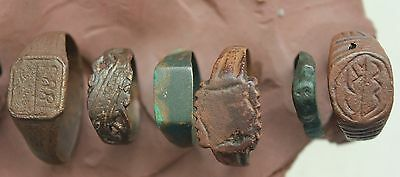 L6 Lot of 7x Ancient Roman  Byzantine and Medieval  Bronze Rings  26g