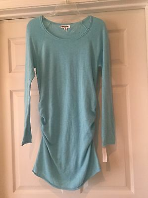 Turquoise Liz Lange Maternity Sweater Dress/ Tunic With Side Ruching Size Small