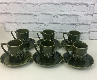 Set Of Six Green Totem Portmeirion Cups And Saucers By Susan William Ellis.