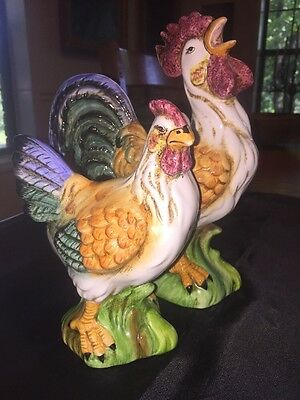 Vintage KALDUN & BOGLE Hand Painted Rooster And Hen Figurine,