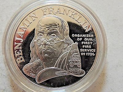 "1992 United States ""Ben Franklin Firefighters Silver Medal"" WithCase & C.O.A."