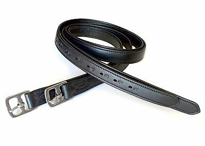 "54"" Triple Layer Strong Super Soft English Stirrup Leathers, Black"