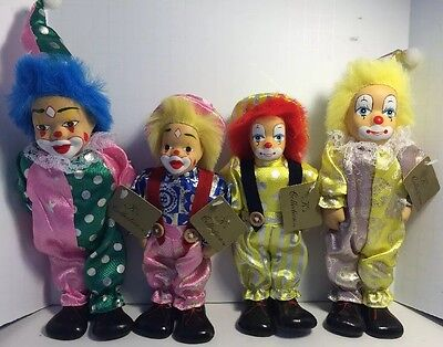 Lot of Four Vintage K's Collections Circus Clown Figurine Decorative Collectible