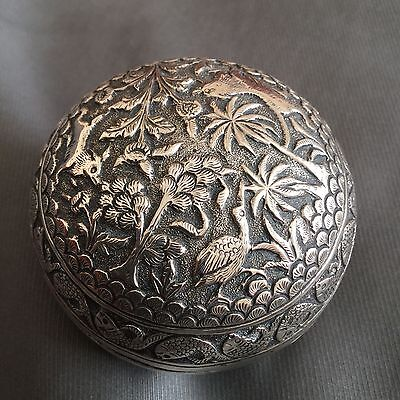 c1890, FINE QUALITY ANTIQUE 19thC INDIAN KUTCH SOLID SILVER EMBOSSED SOAP BALL
