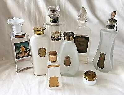 Collection of 8 RARE 1920's ANTIQUE Art Deco NOUVEAU Commercial PERFUME BOTTLES