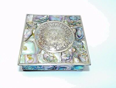 VTg. MEXICO AZTEC SUN GOD CALENDAR ABALONE INLAY LINED ROSEWOOD TRINKET BOX