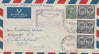 L 2006 CPA Sydney Vancouver Canada FFC July 1949;  1/6d rate;  4 stamps