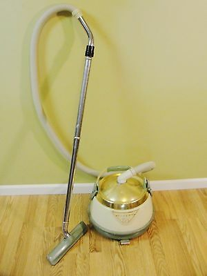 Vintage Eureka 960 Roto-Matic Swivel Top Canister Vacuum working pea green gold