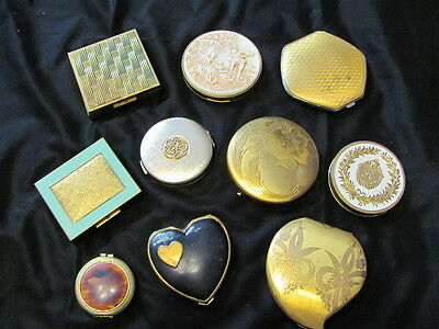 Antique & Vintage Metal Makeup Compacts, Art Deco, Elgin American, Zell, Avon