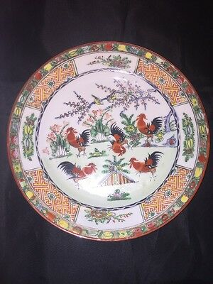 "Chinese Porcelain Famille Rose Rooster Plate 10"" Signed Backstamp Hand Painted"
