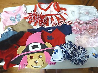Official Build A Bear Clothes Lot Of 15, Cheerleader, Rock Star, Tops, Skirts