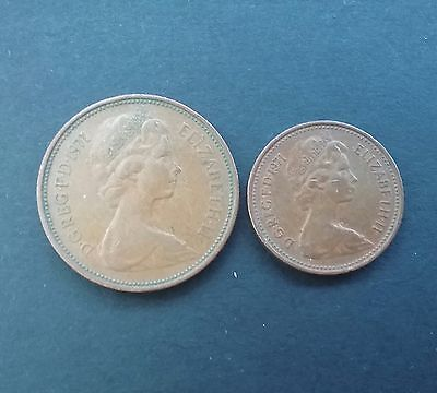 1971 rare 2p  two new pence and a 1971 1p coin. collectable.....
