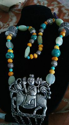 Antique Chinese Silver Kylin Necklace With Jade Turquoise Amber Repousse Beads
