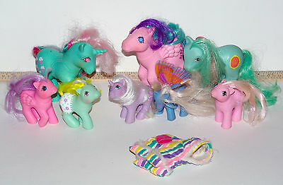 Vintage My Little Pony G1 mixed lot 8 ponies + Pony rainbow Pajama outfit