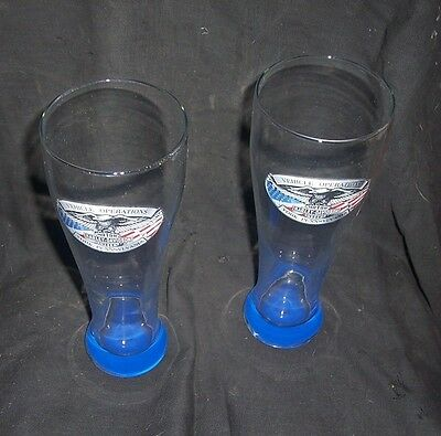 "2 Harley Davidson 9"" Beer Glasses Logo Eagle Vehicle Operations York PA"