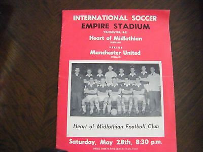 Hearts of midlothian v Manchester united away football programme vancouver bc