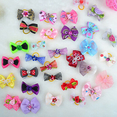 G New 100PCS 3D Small Puppy Pet Dog Rhinestone Hair Bow Rubber Bands Grooming MI
