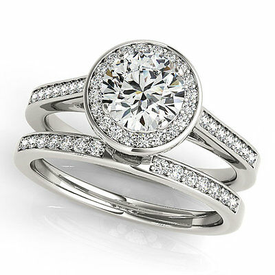 1ct Forever Off White Moissanite Solid Sterling silver Halo Engagement Ring set