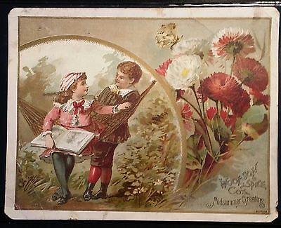 Victorian Trade Card ~ Woolson Spice Co.s 'Midsummer Greeting'