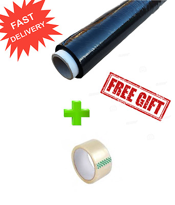 Black stretch foil wrap parcel pallet STRONG-QUALITY FREE 1 ROLL CLEAR TAPE