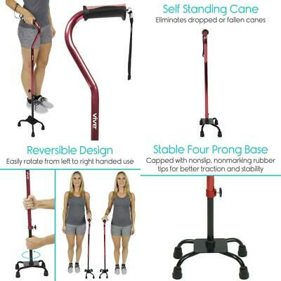 Vive Adjustable Quad Cane - Lightweight Walking Stick for Men & Women Staff...