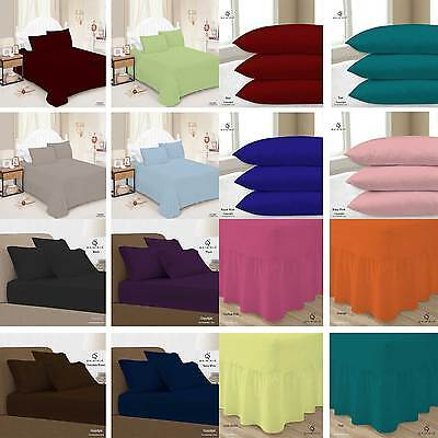 Plain Fitted Bed Sheets Dyed Colour All Sizes Single Double King Super King