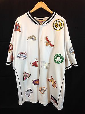 Vintage Oversized NBA Majestic Patch Shirt With Every Teams Patch RARE Oversized