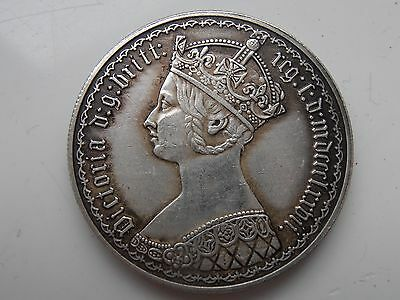 """Victorian Florin """"Gothic"""" Type Silver Plated Restrike Coin"""