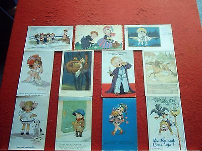 32 Old Postcards Mixed Kids Subjects