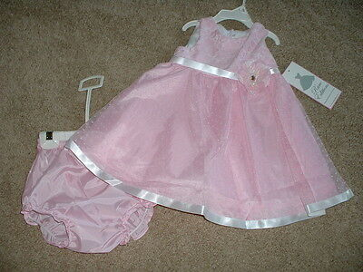Rare Editions Pink Dress Set Boutique Baby Girls Size 3-6 Months mos NWT NEW