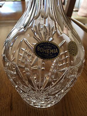 Vintage Hand Cut Lead Crystal Wine Decanter Made In Czechoslovak Never Been Used