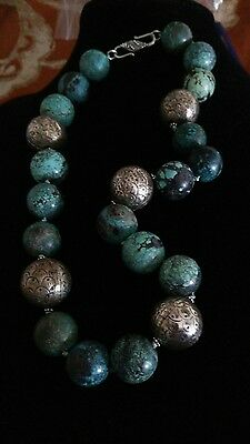 Chinese 20mm Spiderweb Turquoise With 22 mm Qing Dynasty Silver Bead Necklace