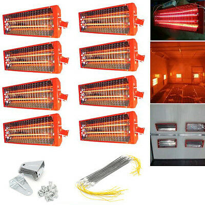 1/2/8sets 2KW Spray/Baking booth Infrared Paint Curing Lamp Heating Light Heater