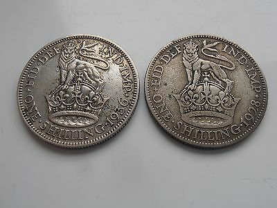 Set of 2 40% silver British shilling Coins