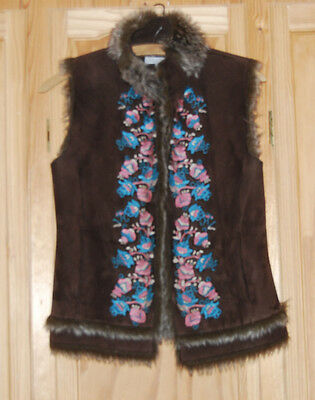 Bohemian/hippy/festival Faux Fur Embroidered Jacket /gilet Size 10