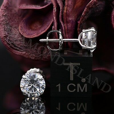 2.00 Ct Round Earrings 14K Solid White Gold Basket Studs Brilliant Screw-Back