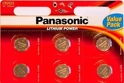 6 x Panasonic CR2025 3V Lithium Coin Cell Battery 2025