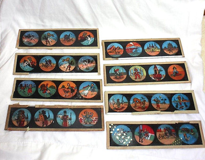Group of hand Painted Victorian Glass Slides