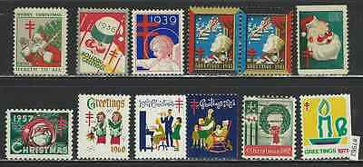 #7562 US CHRISTMAS SEALS Lot 12 diff. 1930/1971 mostly MNH