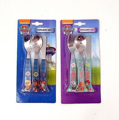 Kids Cutlery Set Paw Patrol Girl and Boy Designs Metal Knife Spoon Fork NEW
