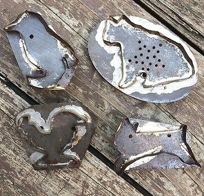 Primitive Tin Cookie Cutters Set of Four Animals Rooster Chick Cat Rabbit